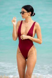 Nicole Williams in Swimsuit on the beach in Miami
