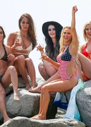 Nikki and Brie Bella and Paige Strip Down - Bikini Photoshoot in Malibu