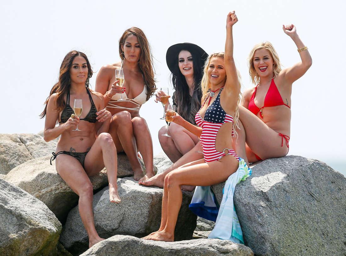 Nikki and Brie Bella and Paige Strip Down - Bikini Photoshoot in Malibu