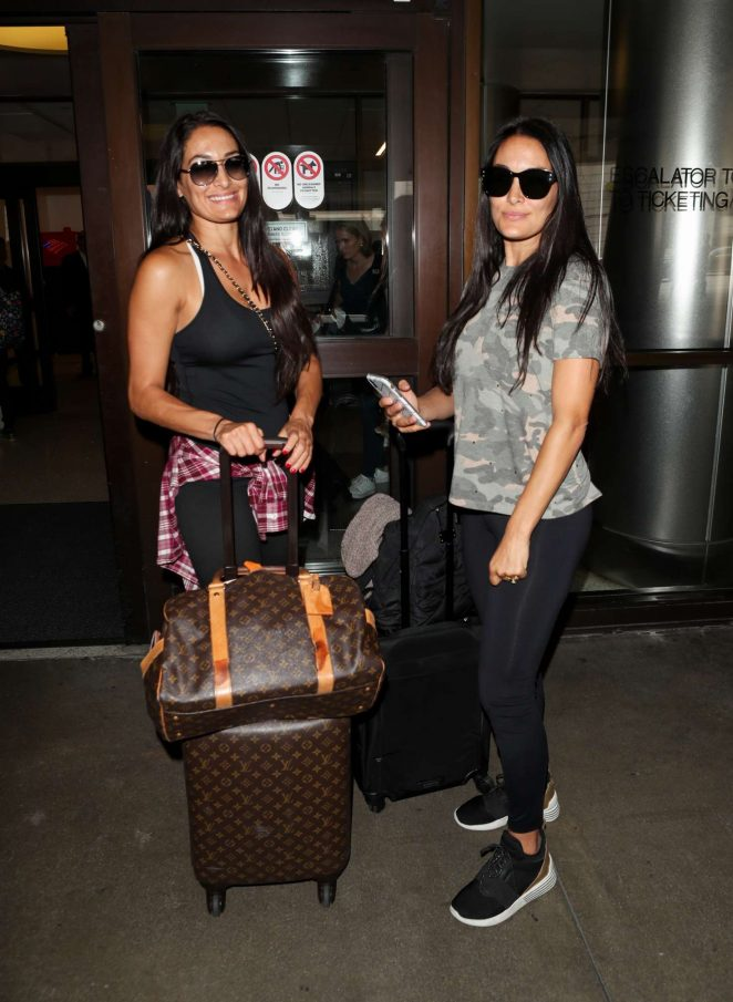 Nikki and Brie Bella at LAX International Airport in Los Angeles