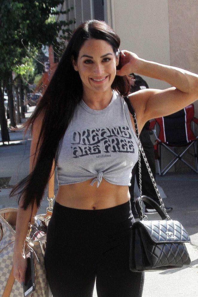 Nikki Bella in Crop Top - Arrives at the dance studio in Los Angeles