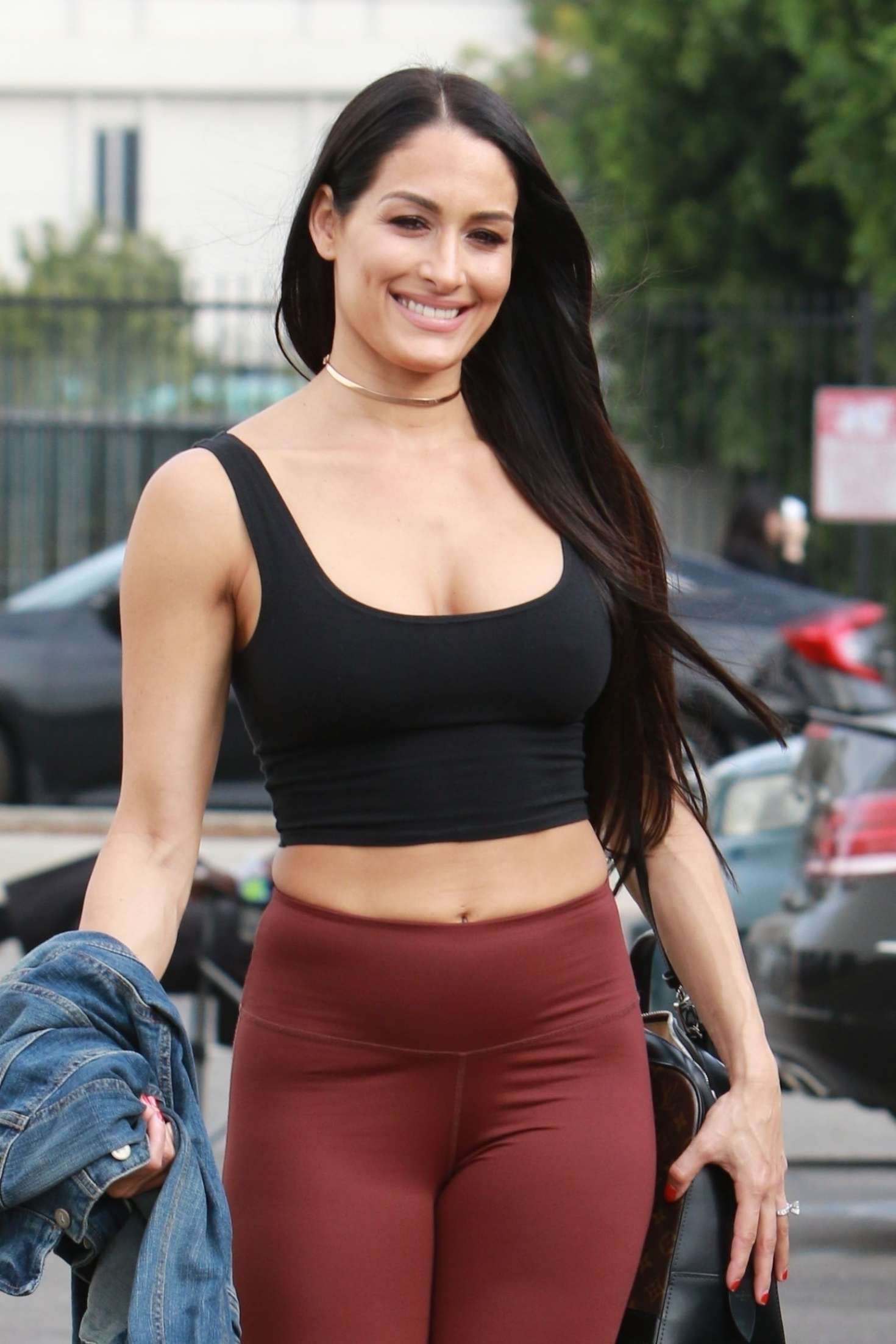 Nikki Bella in Tights and Sports Bra – Arrives at a dance ...