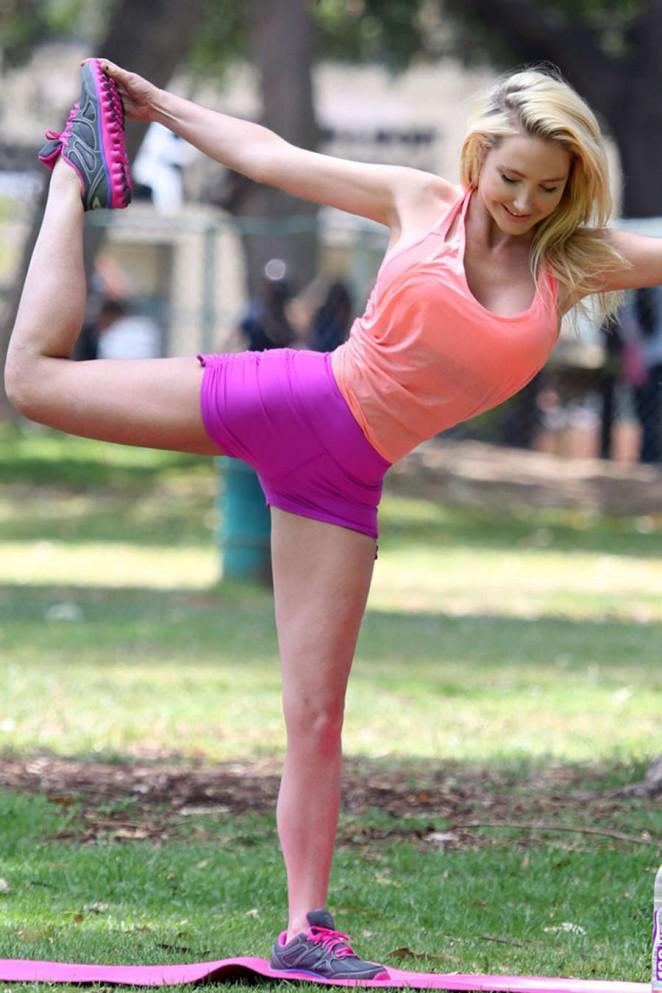Nikki Lund - Doing Yoga in Beverly Hills