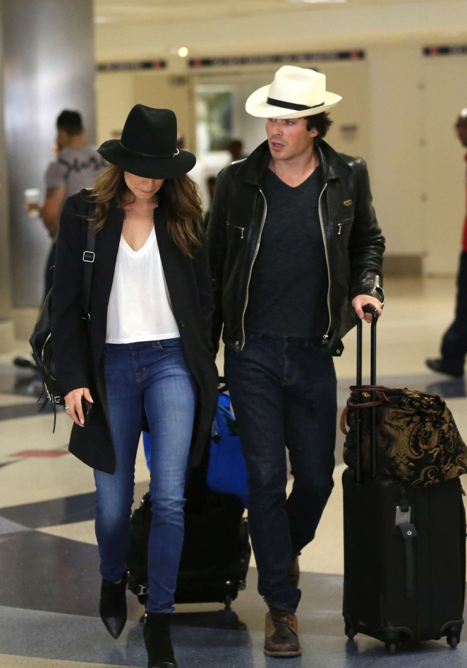 Nikki Reed and Ian Somerhalder at LAX Airport in LA
