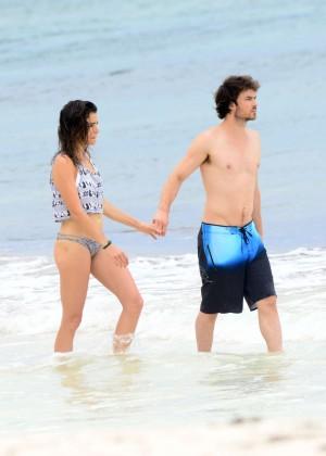 Nikki Reed & Ian Somerhalder on the beach in Tulum
