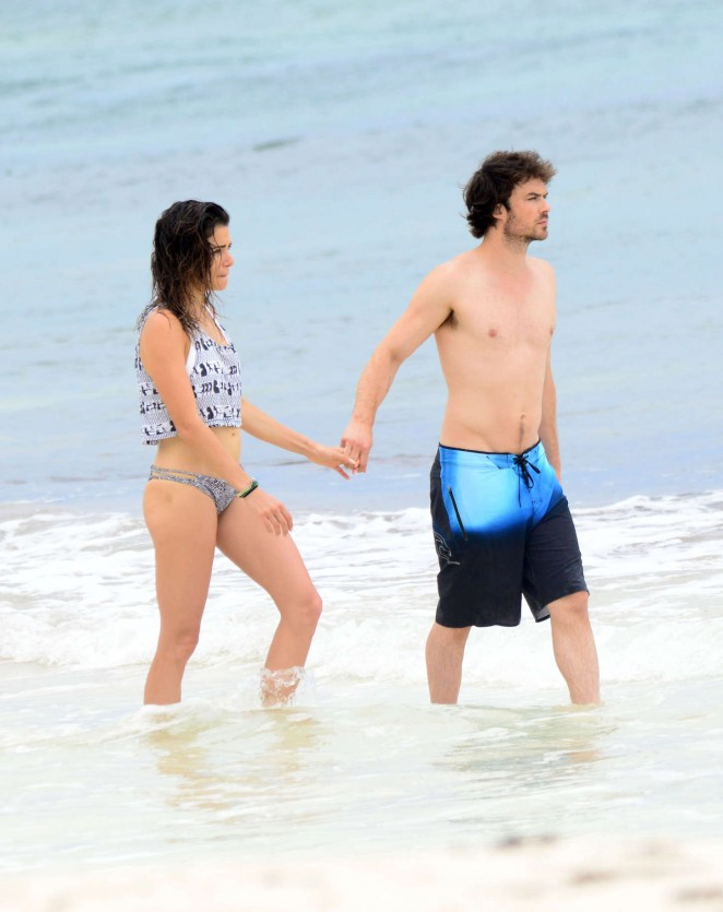 Nikki Reed & Ian Somerhalder on the beach in Tulum