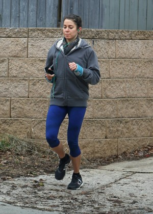 Nikki Reed in Leggings Jogging in Atlanta