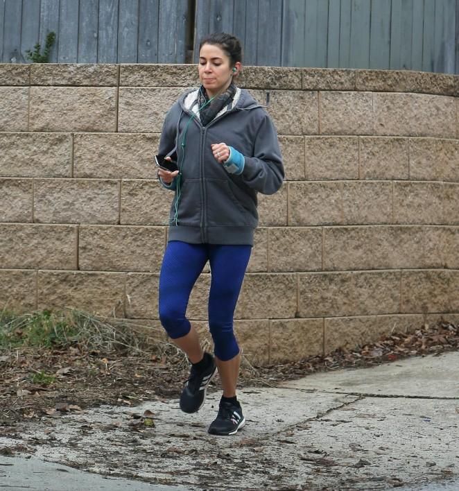 Nikki Reed in Leggings Jogging in Atlanta
