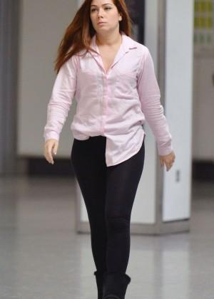 Nikki Sanderson at Heathrow Airport in London