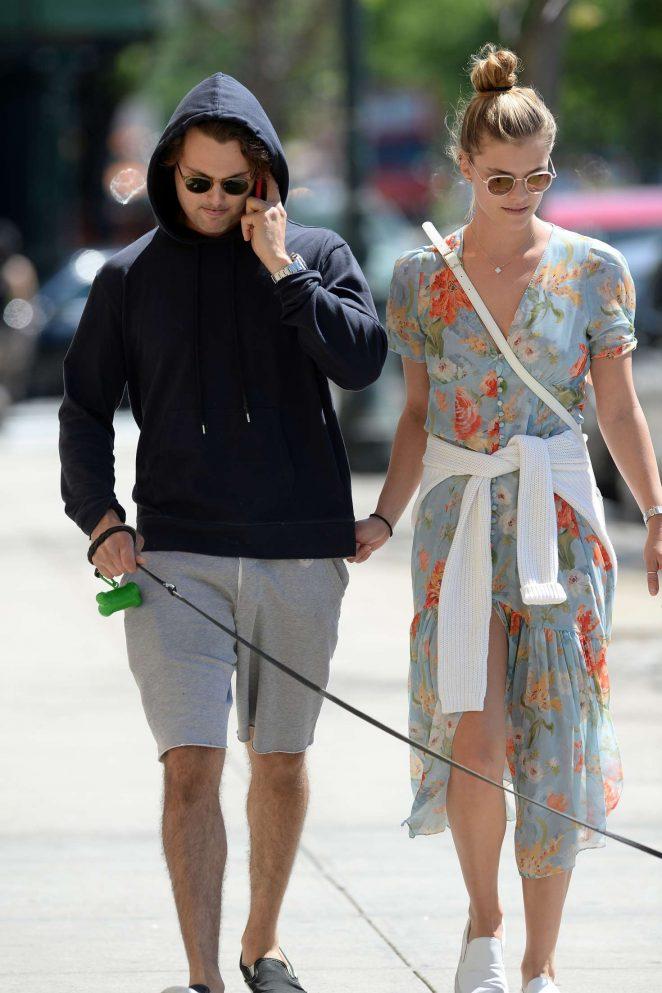 Nina Agdal and her boyfriend Jack Brinkley - Walking their dog in New York