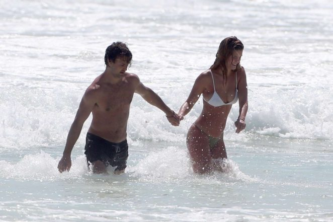 Nina Agdal in Bikini with Jack Brinkley-Cook on the beach in Tulum