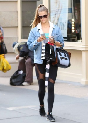 Nina Agdal in Black Tights Out in Soho