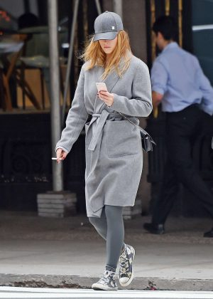 Nina Agdal in Gray Coat out in Manhattan