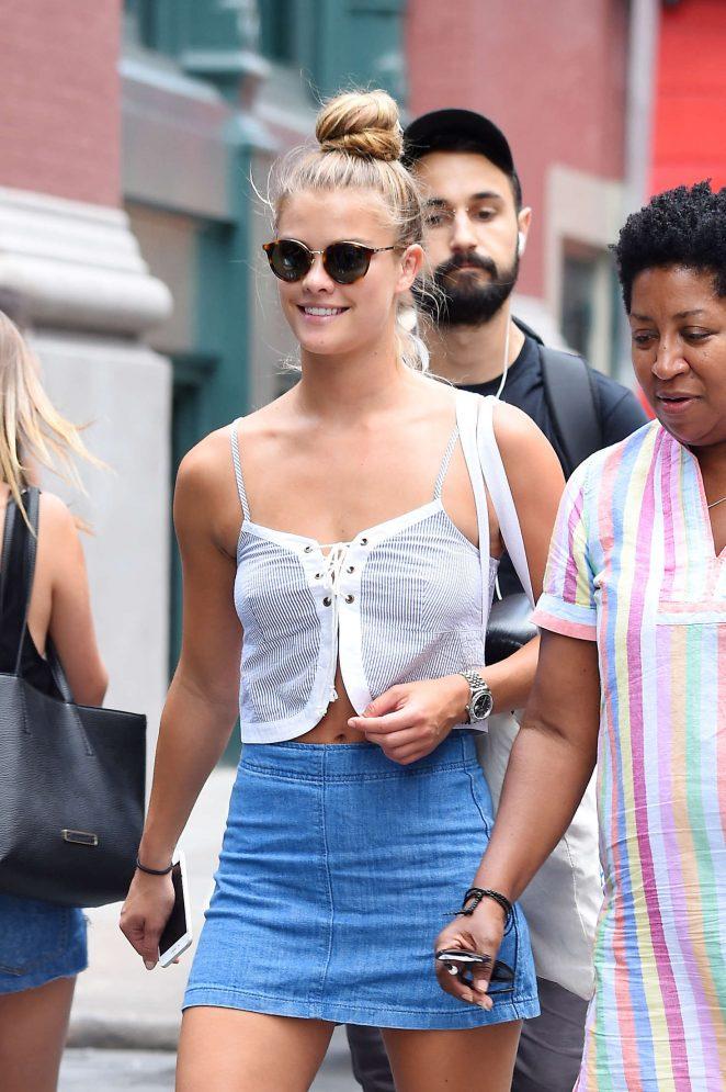 Nina Agdal in Jeans Mini Skirt in New York