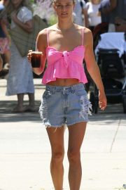 Nina Agdal in Jeans Shorts - Grabs a coffee in East Hampton