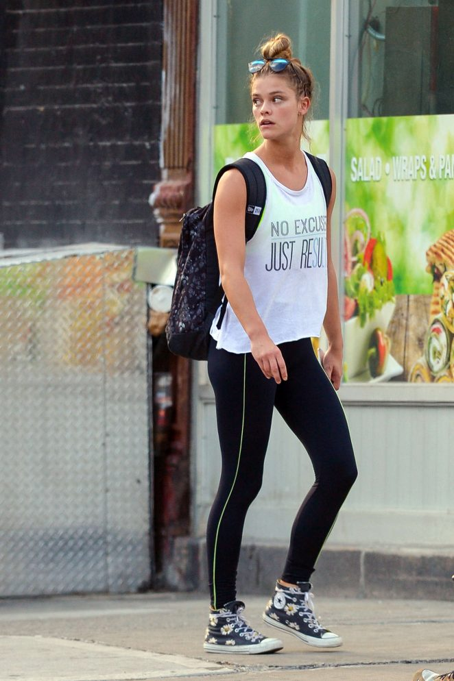 Nina Agdal in Leggings out in Manhattan
