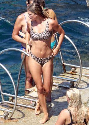 Nina Agdal in Leopard Print Bikini at a beach in Capri
