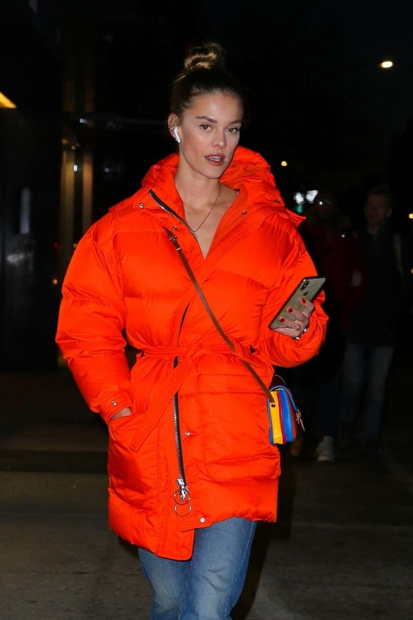 Nina Agdal in Red Jacket - Out in New York City