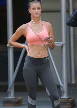 Nina Agdal in Tank Top and Tights out in New York