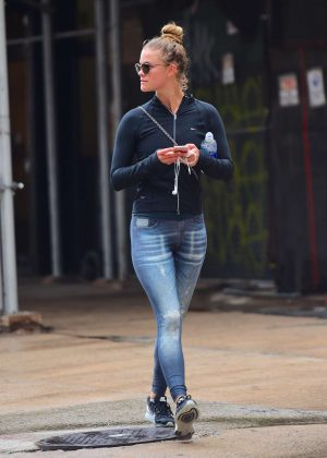 Nina Agdal in Tights Leaving a Soul Cycle in New York
