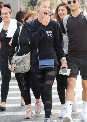 Nina Agdal in Tights Leaving a workout in NYC
