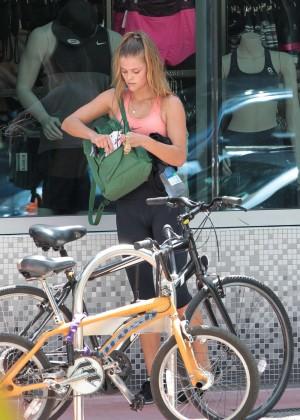 eecc52fb8f77b Nina Agdal in Tights Leaving the Gym – GotCeleb