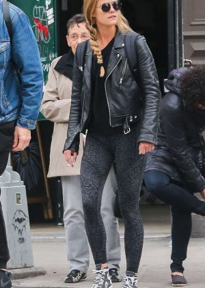 Nina Agdal in Tights out in New York City