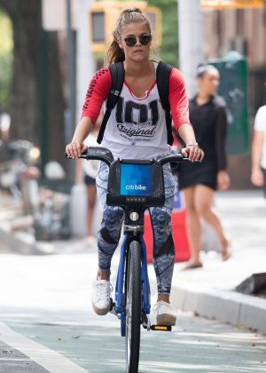 Nina Agdal in Tights Riding City Bicycle in New York City