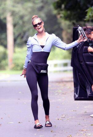Nina Agdal - leaving her fitness class in Amagansett
