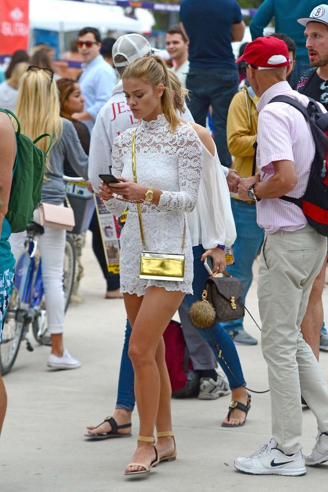 Nina Agdal in White Shorts -01