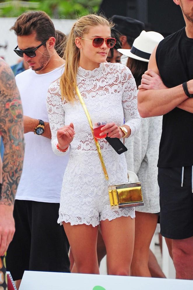 Nina Agdal in White Shorts -13