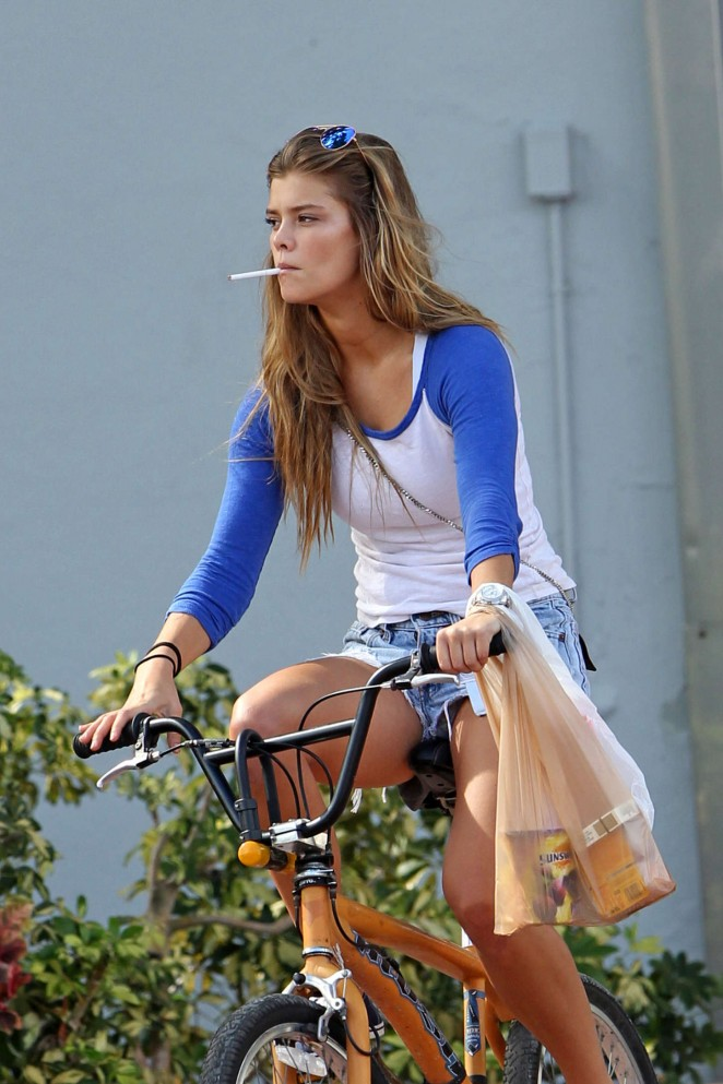 Nina Agdal in Jeans Shorts -26 - GotCeleb