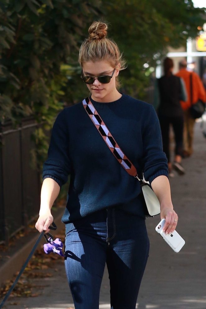 Nina Agdal - Walking her dog in Washington Square Park in NYC