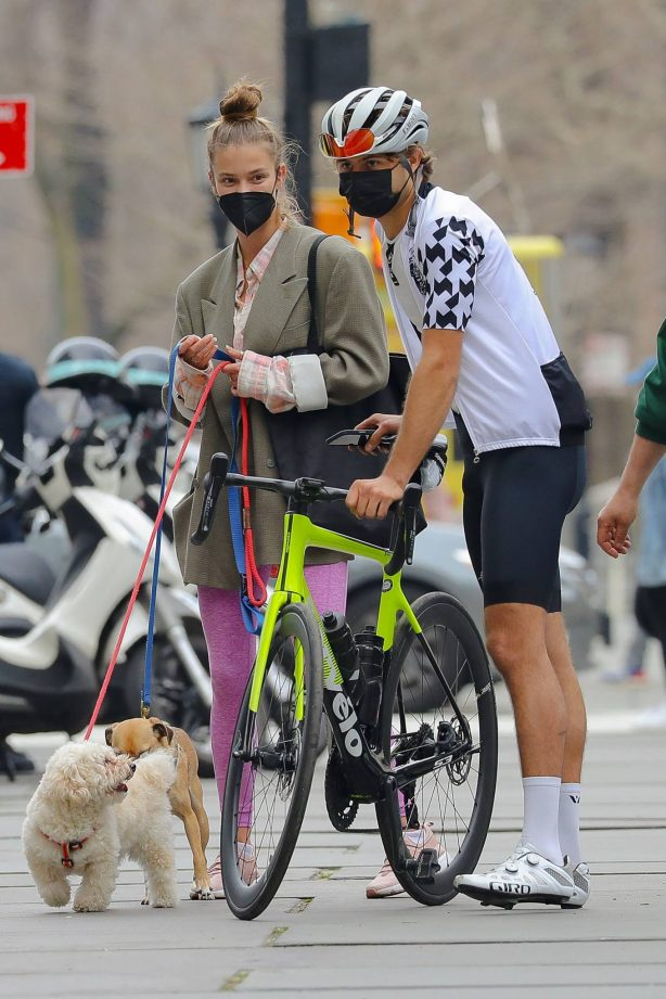 Nina Agdal - With boyfriend Jack Brinkley-Cook are spotted in Central Park - New York