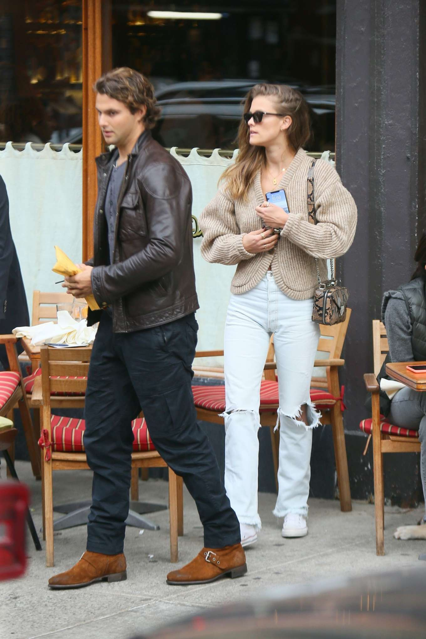 Nina Agdal with her boyfriend at Saint Ambrose in New York City