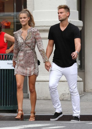 Nina Agdal in Mini Dress with Reid Heidenry Out in NYC