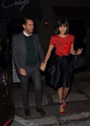 Nina Dobrev and Glen Powell - Leaving Craig's restaurant in West Hollywood