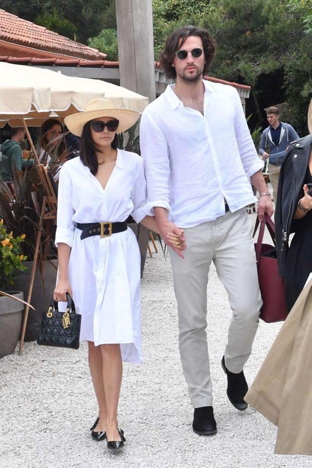Nina Dobrev and Grant Mellon - Leaving La Guerite in Cannes