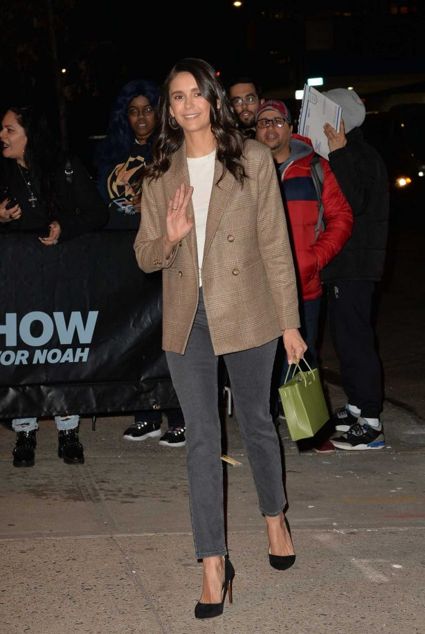 Nina Dobrev - Arrives at The Daily Show with Tevor Noah in New York City