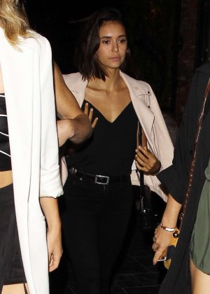 Nina Dobrev Arriving at Beauty and Essex in Los Angeles