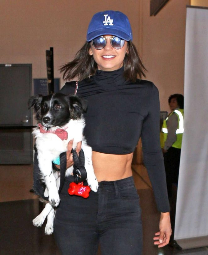 Nina Dobrev at LAX Airport with Her Dog in LA