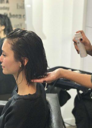 Nina Dobrev had her haircut in LA