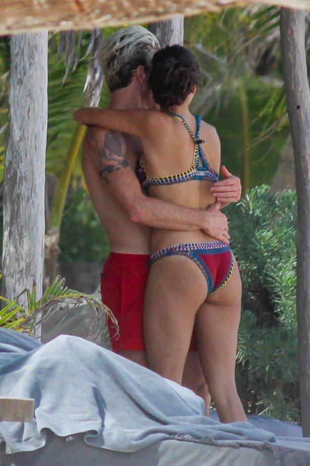 Nina Dobrev - In a bikini with friends in Tulum - Mexico
