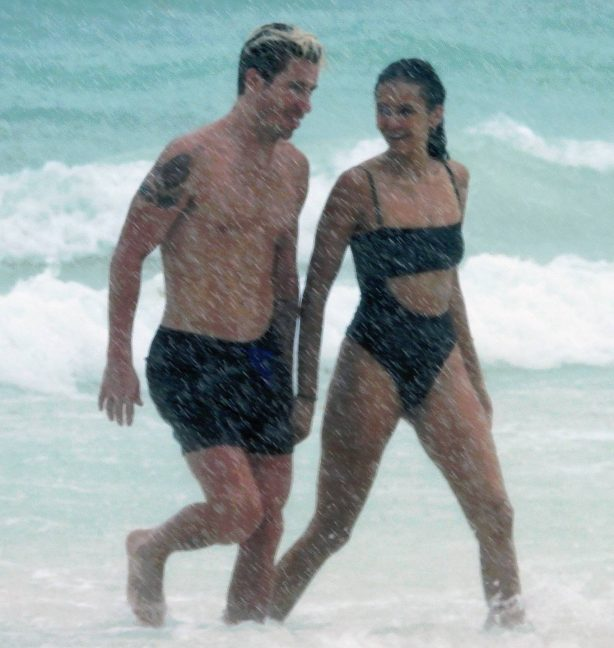 Nina Dobrev - In a bikini with Shaun White at the Beach in Tulum - Mexico