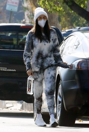 Nina Dobrev - In a tie dye sweatsuit in Los Angeles