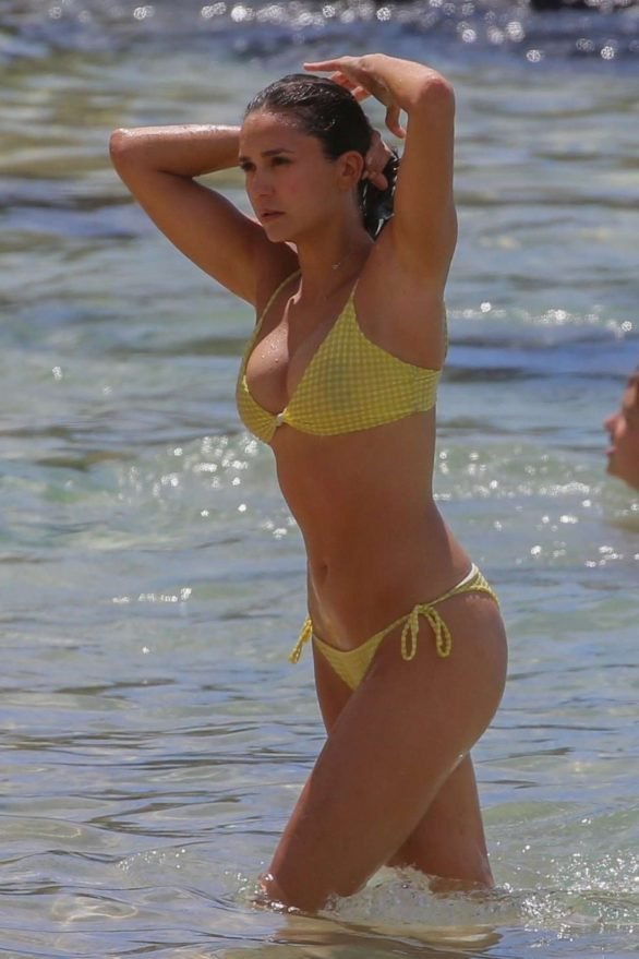 Nina Dobrev in a yellow bikini at Kapalua Bay - Maui