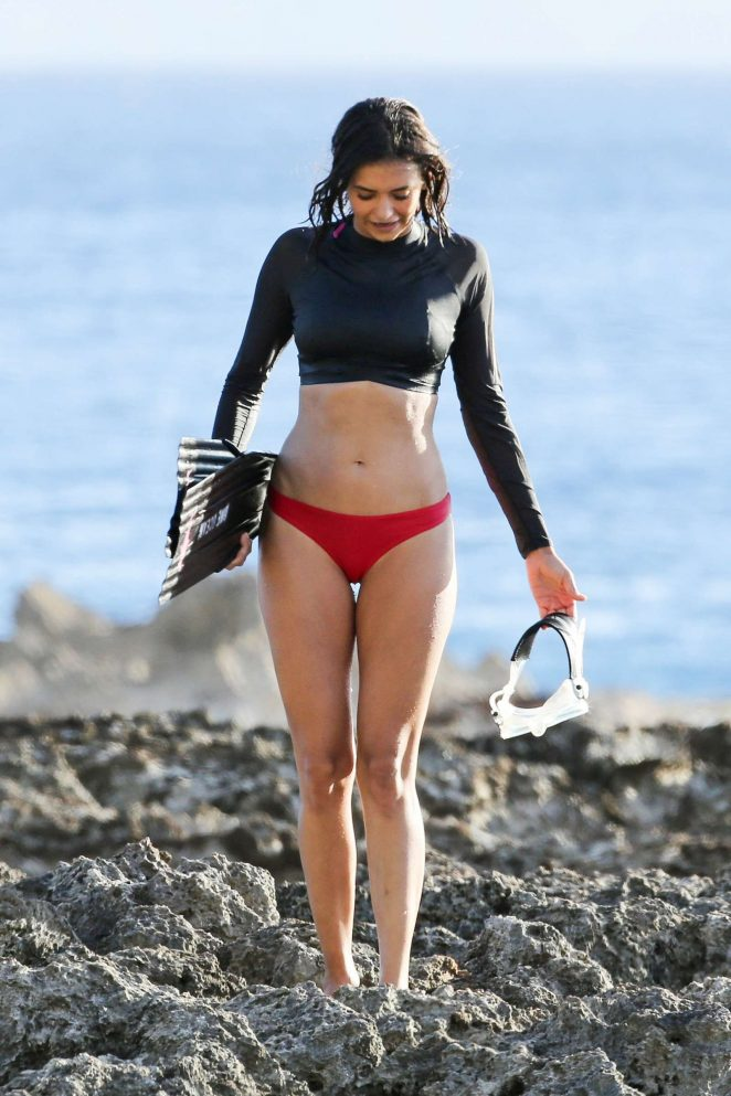 Nina Dobrev in Bikini Bottom filming a shark conservation documentary in Honolulu