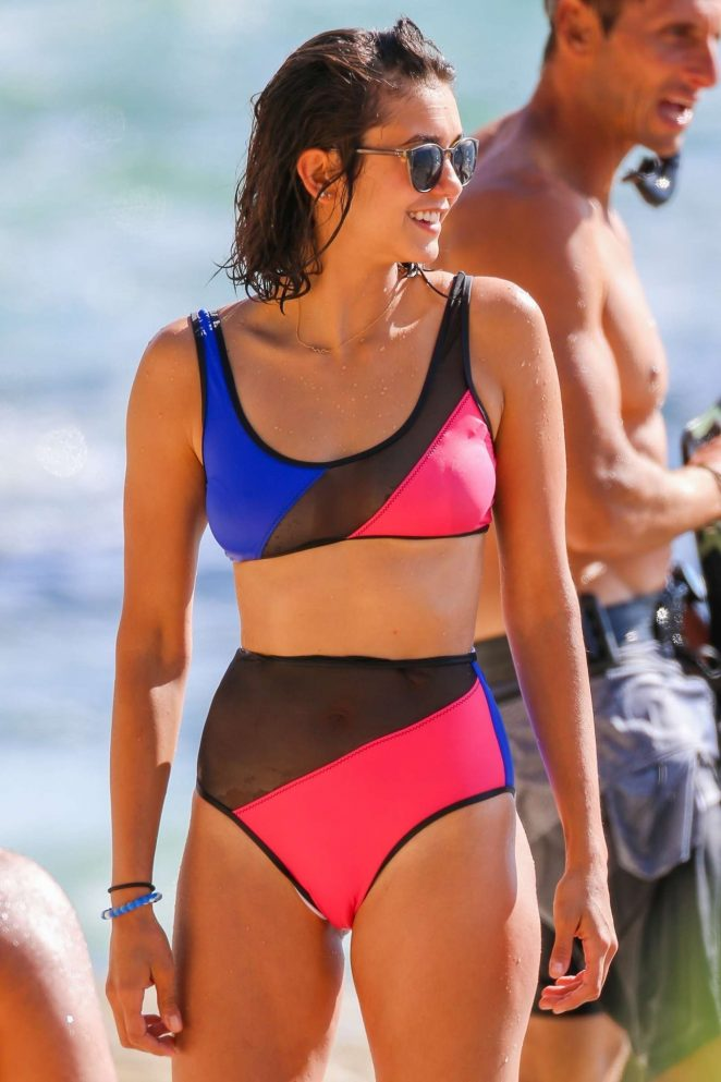 Nina Dobrev in Bikini Filming an upcoming show on shark conservation in Oahu