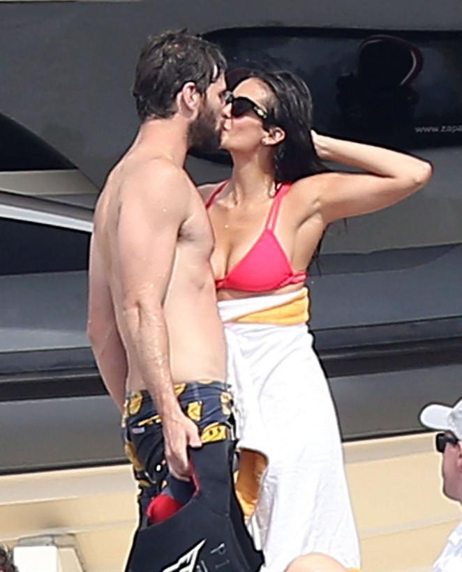 Nina Dobrev in Bikini Top on Jet Skiing in St. Tropez