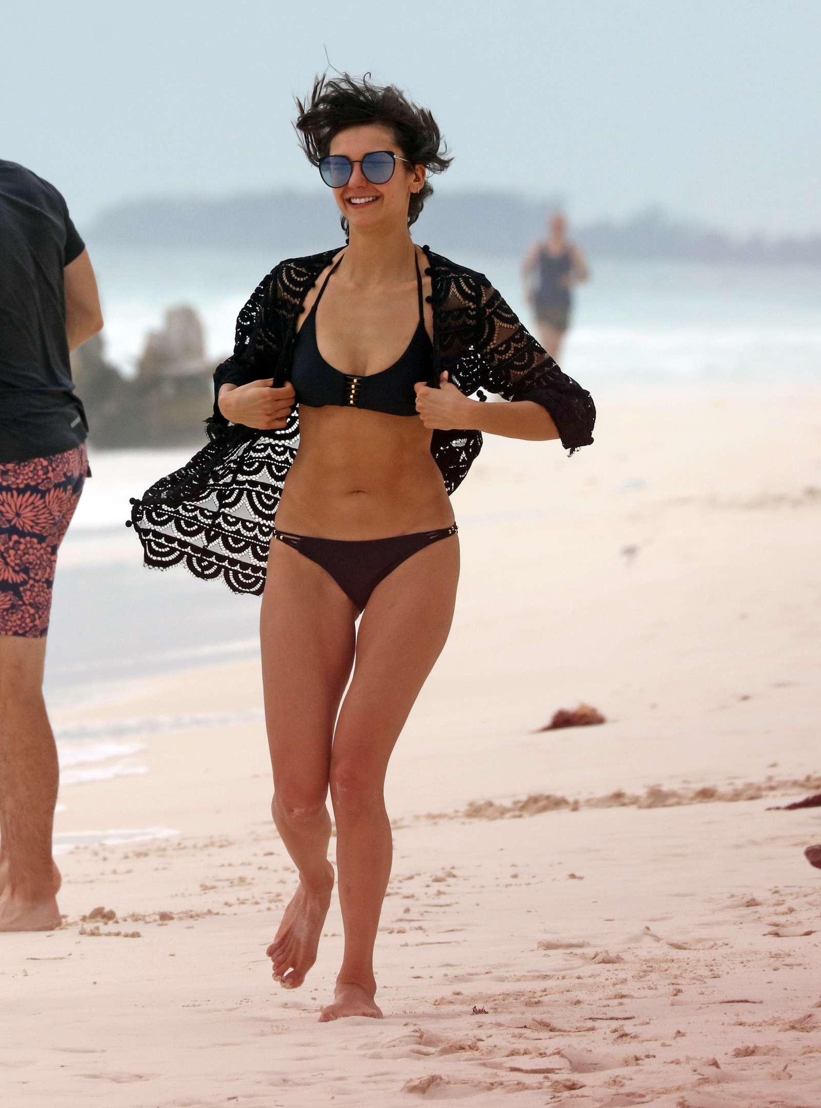 Nina Dobrev in Black Bikini at a Beach in Mexico